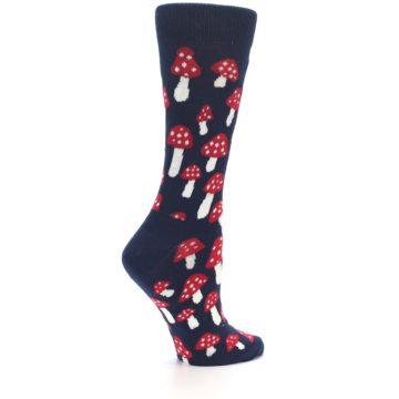 Image of Navy Red Mushrooms Women's Dress Socks (side-1-23)