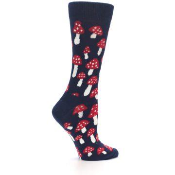 Image of Navy Red Mushrooms Women's Dress Socks (side-1-24)