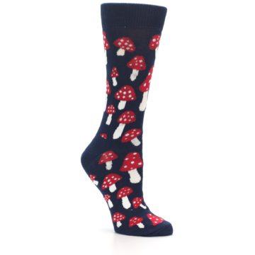Image of Navy Red Mushrooms Women's Dress Socks (side-1-26)