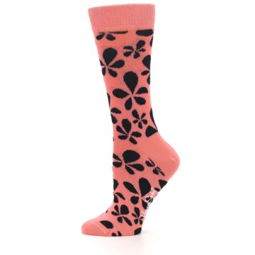 Image of Coral Black Floral Pattern Women's Dress Socks (side-2-11)