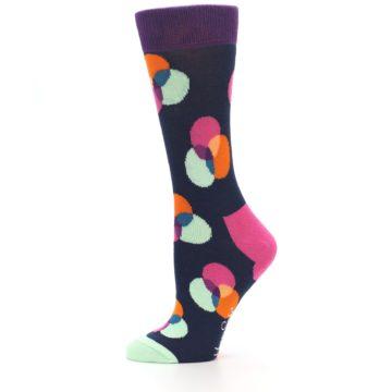 Image of Navy Pink Orange Dots Women's Dress Socks (side-2-11)