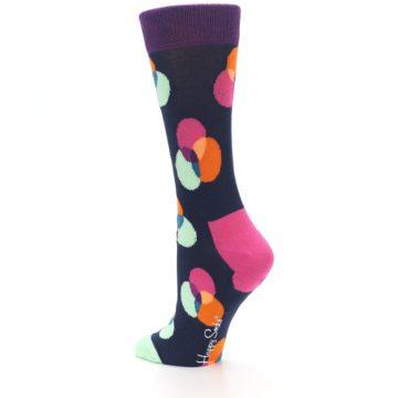 Image of Navy Pink Orange Dots Women's Dress Socks (side-2-back-14)