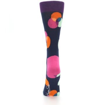 Image of Navy Pink Orange Dots Women's Dress Socks (back-18)
