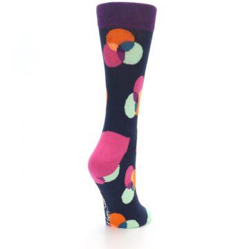 Image of Navy Pink Orange Dots Women's Dress Socks (side-1-back-21)