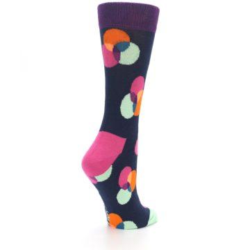 Image of Navy Pink Orange Dots Women's Dress Socks (side-1-back-22)