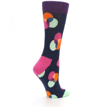 Image of Navy Pink Orange Dots Women's Dress Socks (side-1-23)