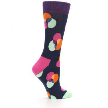 Image of Navy Pink Orange Dots Women's Dress Socks (side-1-24)