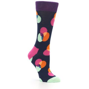 Image of Navy Pink Orange Dots Women's Dress Socks (side-1-26)