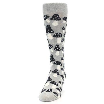 Image of Grey Black White Mushrooms Men's Dress Socks (side-2-front-06)