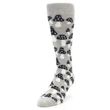 Image of Grey Black White Mushrooms Men's Dress Socks (side-2-front-07)