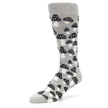 Image of Grey Black White Mushrooms Men's Dress Socks (side-2-09)