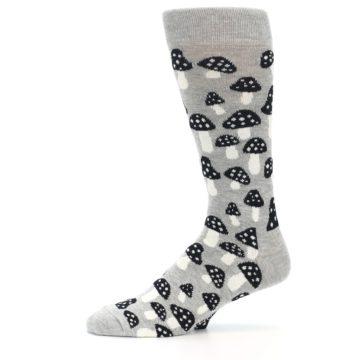 Image of Grey Black White Mushrooms Men's Dress Socks (side-2-11)