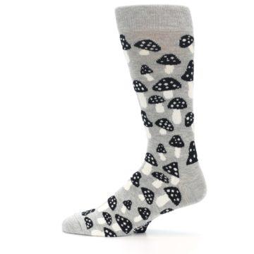 Image of Grey Black White Mushrooms Men's Dress Socks (side-2-12)
