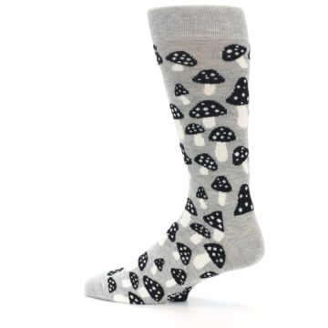 Image of Grey Black White Mushrooms Men's Dress Socks (side-2-13)
