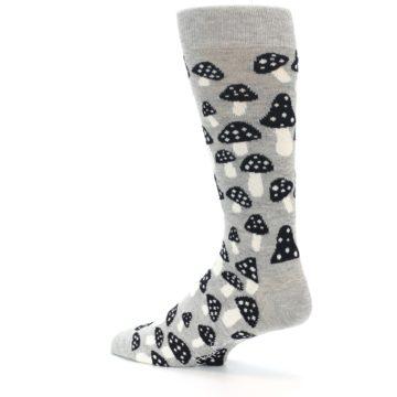 Image of Grey Black White Mushrooms Men's Dress Socks (side-2-back-14)