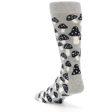 Image of Grey Black White Mushrooms Men's Dress Socks (side-2-back-15)