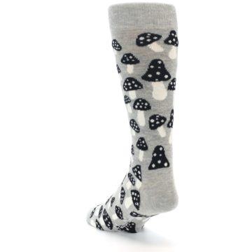 Image of Grey Black White Mushrooms Men's Dress Socks (side-2-back-16)