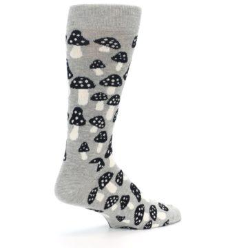 Image of Grey Black White Mushrooms Men's Dress Socks (side-1-23)