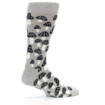 Image of Grey Black White Mushrooms Men's Dress Socks (side-1-24)