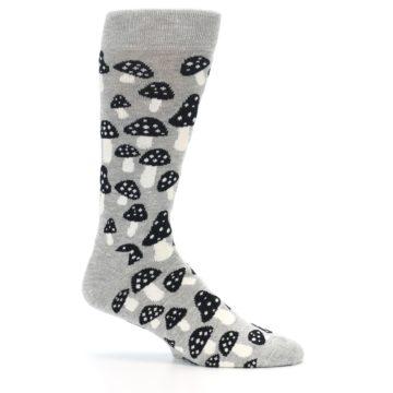 Image of Grey Black White Mushrooms Men's Dress Socks (side-1-25)