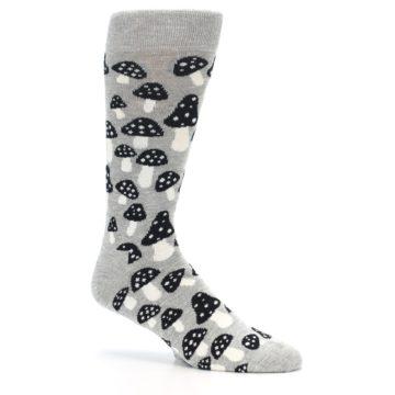 Image of Grey Black White Mushrooms Men's Dress Socks (side-1-26)
