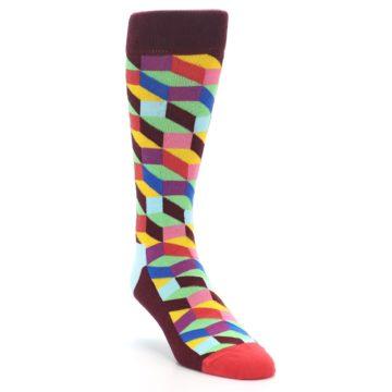 Image of Maroon Multi Optical Men's Dress Socks (side-1-front-02)
