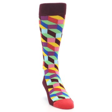 Image of Maroon Multi Optical Men's Dress Socks (side-1-front-03)