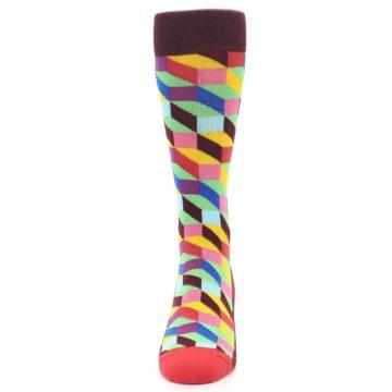 Image of Maroon Multi Optical Men's Dress Socks (front-05)