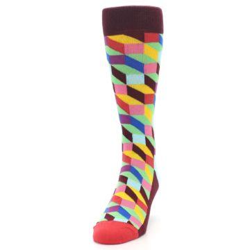 Image of Maroon Multi Optical Men's Dress Socks (side-2-front-06)