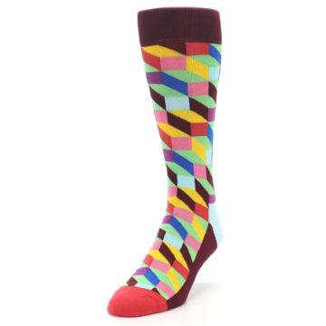 Image of Maroon Multi Optical Men's Dress Socks (side-2-front-07)