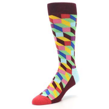 Image of Maroon Multi Optical Men's Dress Socks (side-2-front-08)