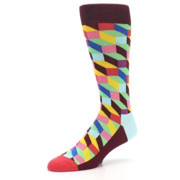 Image of Maroon Multi Optical Men's Dress Socks (side-2-09)