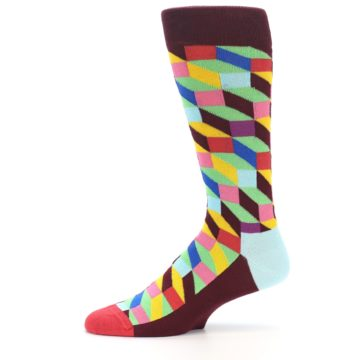Image of Maroon Multi Optical Men's Dress Socks (side-2-11)