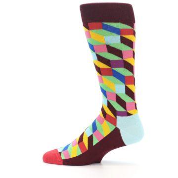 Image of Maroon Multi Optical Men's Dress Socks (side-2-12)