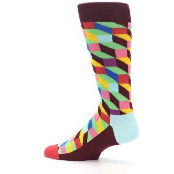 Image of Maroon Multi Optical Men's Dress Socks (side-2-13)