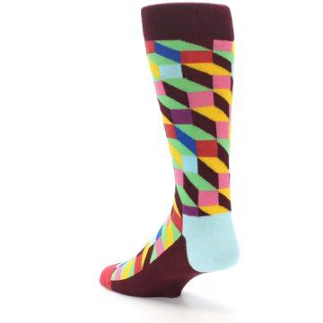 Image of Maroon Multi Optical Men's Dress Socks (side-2-back-15)