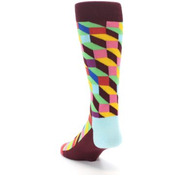 Image of Maroon Multi Optical Men's Dress Socks (side-2-back-16)