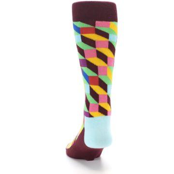 Image of Maroon Multi Optical Men's Dress Socks (back-17)