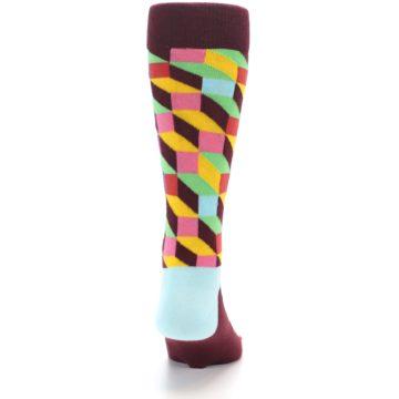 Image of Maroon Multi Optical Men's Dress Socks (back-19)