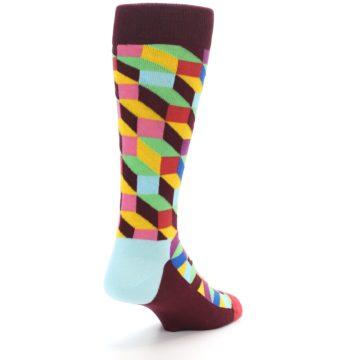 Image of Maroon Multi Optical Men's Dress Socks (side-1-back-21)