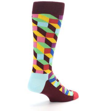 Image of Maroon Multi Optical Men's Dress Socks (side-1-back-22)