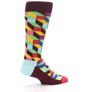 Image of Maroon Multi Optical Men's Dress Socks (side-1-23)