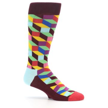 Image of Maroon Multi Optical Men's Dress Socks (side-1-25)