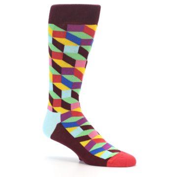 Image of Maroon Multi Optical Men's Dress Socks (side-1-26)