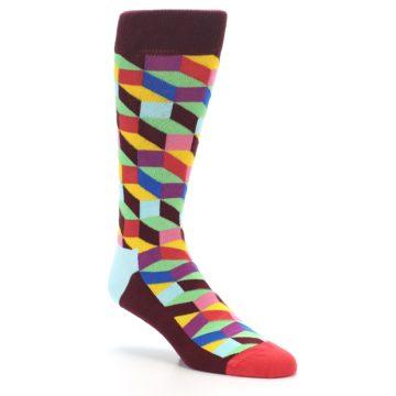 Image of Maroon Multi Optical Men's Dress Socks (side-1-27)