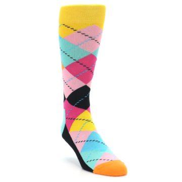 Image of Pink Multi Argyle Men's Dress Socks (side-1-front-02)