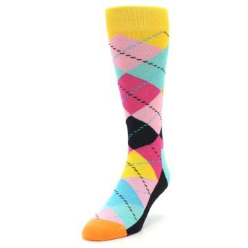 Image of Pink Multi Argyle Men's Dress Socks (side-2-front-07)