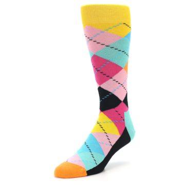 Image of Pink Multi Argyle Men's Dress Socks (side-2-front-08)
