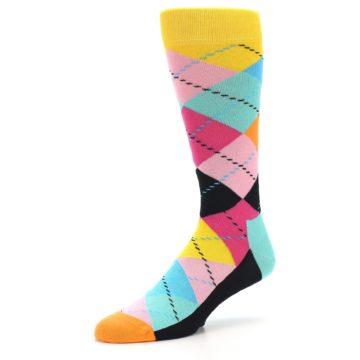 Image of Pink Multi Argyle Men's Dress Socks (side-2-09)