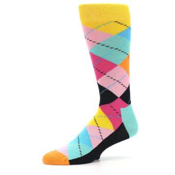 Image of Pink Multi Argyle Men's Dress Socks (side-2-10)